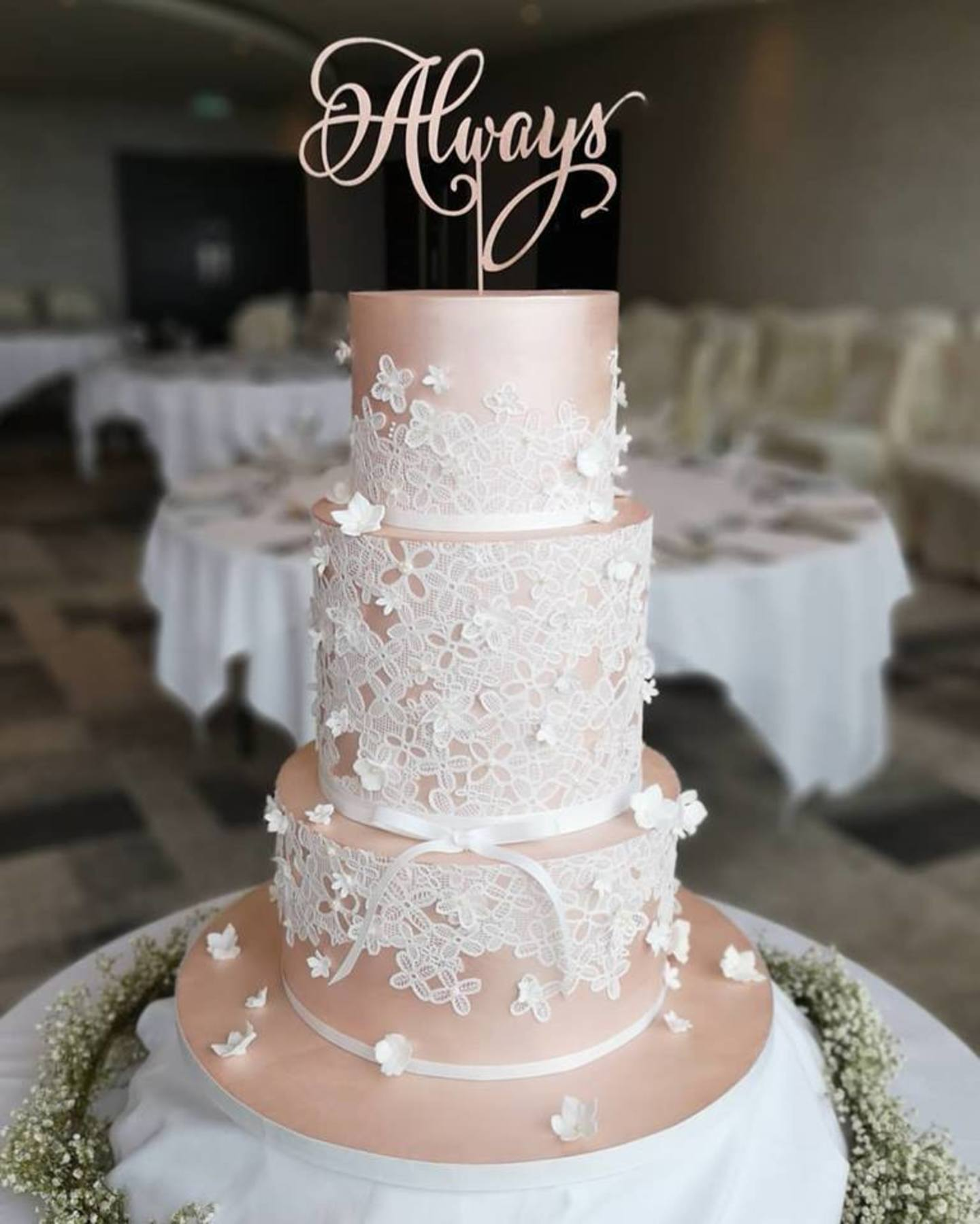 Pink lustre  cake lace  white blossoms