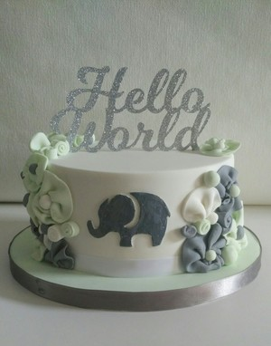Hello World baby shower cake