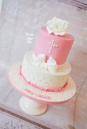 Christening cake with rose