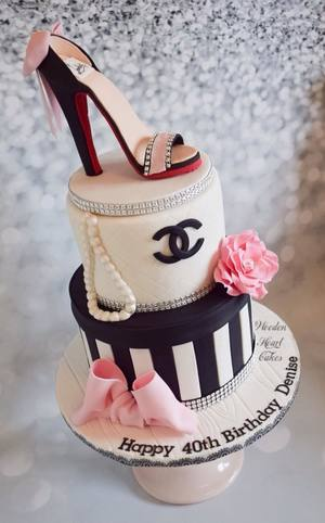 Chanel birthday cake with edible shoe