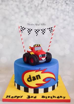 Blaze and the monster machines birthday cake with edible topper