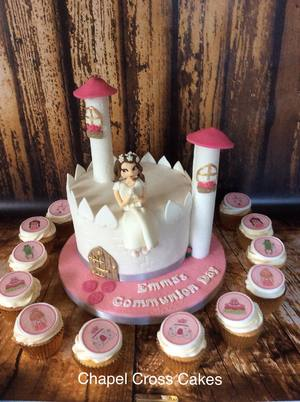 "Girly Communion Castle Cake with Princess Cupcakes 8"" Round Cookies & Cream with Vanilla Cupcakes"