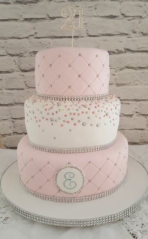 Pretty in pink 21st birthday cake