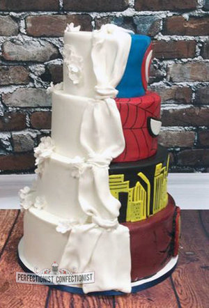 Superheroes wedding cake classic wedding cake split wedding cake half and half wedding cake marvel wedding cake wedding cake dublin 1