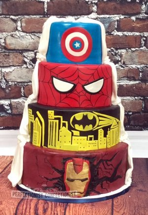 Superheroes wedding cake classic wedding cake split wedding cake half and half wedding cake marvel wedding cake wedding cake dublin 4