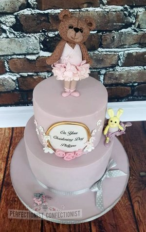 Ballerina baby girl christening naming day cake bear bunny mouse rat rabbit flowers pink swords malahide kinsealy dublin celebration novelty handmade 1