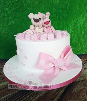First birthday cake christening baby girl baby shower kinsealy swords malahide teddy bear rabbit bunny pink girl 2