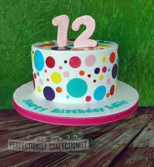 Spotty polka dot chocolate biscuit cake 12 12th birthday dublin sandymount portmarnock kinsealy malahide swords 2