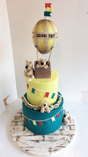 teddy bear hot air balloon custom christening cake