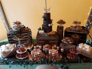 rustic country dessert table and semi naked wedding cake