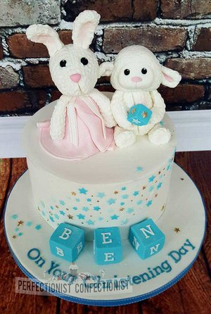Christening cake  naming day cake  kinsealy  swords  malahide  cake toppers  bunny  rabbit  lamby  lamb  stars  blue  white  gold  blocks  chocolate %282%29