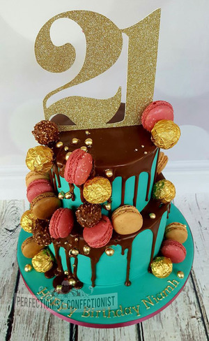 Niamh - 21st Birthday Cake in teal and chocolate with macaron.  Prices start at €150
