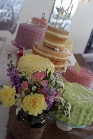 Pastel Dessert Table.  Prices start at €90 for one cake and work upwards from there.