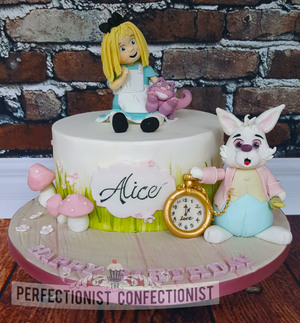 Alice - Alice in Wonderland First Birthday Cake.  Price starts at €120