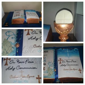 Edible bible cake with handpainted detail, sugar chalice, minature bible and rosary beads