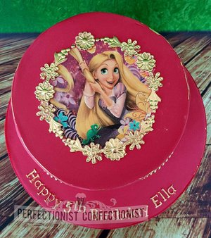 Princess   birthday  cake  novelty  celebration  pink  gold  tangled  ariel  belle  cinderella  sophie  chocolate biscuit cake  swords  malahide  dublin  %281%29