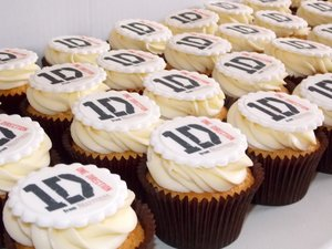 Corporate cupcake branded one direction frosting vanilla