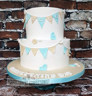 Christening cake  naming day cake  chocolate fudge cake  bunting  blue  boys  girls  cake malahide  cake dublin  cake swords  dublin cakes  %282%29