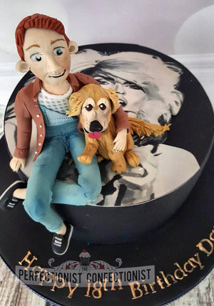 18th birthday cake  18th cake  blondie  dog cake topper  boy cake topper  cake swords  cake malahide  cake kinsealy  cake dublin  novelty  celebration  %281%29