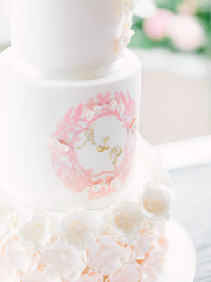 Hand Painted Blossom & Pearl Wedding Cake. Image by Into The Light Fine Art Photography