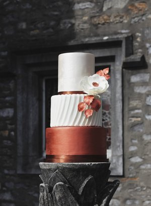 Copper & Lustre Wedding Cake. Image by Portraits By Patrick