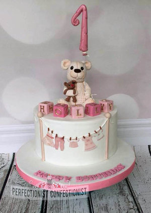 First birthday cake  1st birthday cake  bear  blocks  pink  girl cake dublin  cake swords  cake malahide  novelty cake  birthday cake %283%29
