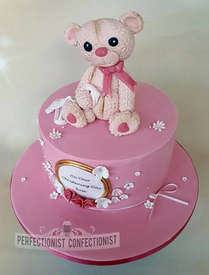 Christening cake  naming day cake  cake  dublin  cake swords  cake malahide  novelty cake  pink  girls cake  bear cake topper  celebration cake.  %285%29