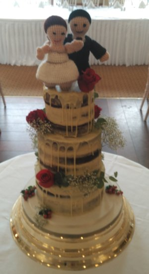 Naked Drip Wedding cake with flowers & handmade crochet topper by the bride