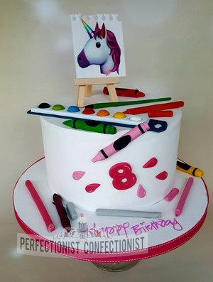 Artist Cake Art Painting Unicorn Emoji Birthday Dublin Novelty Swords