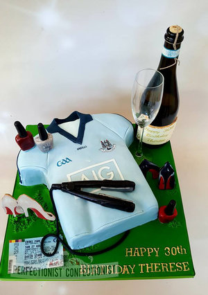 Dublin gaa jersey cake  dublin cake  jersey cake  gaa cake  30th birthday cake  hair straighteners cake topper  nail varnish cake topper  shoes %2813%29