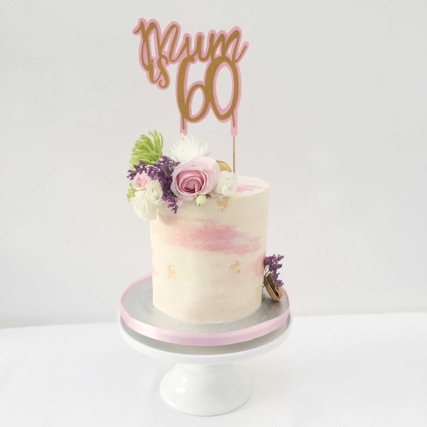 6 Inch Barrel Cake With Fresh Flowers Edible Gold Leaf And Personalised Topper