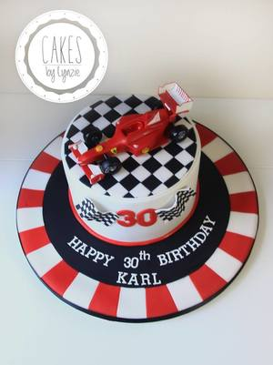 F1 Themed Novelty 30th Birthday Cake