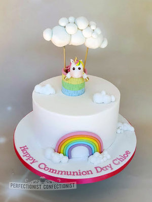 Communion cake  communion  cake  dublin  swords  malahide  kinsealy  unicorn  rainbow  clouds  novelty  birthday  celebration %281%29