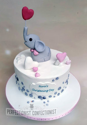 Christening cake  naming day cake  cake  dublin  swords  malahide  kinsealy  celebration  novelty  elephant  hearts  pretty %285%29