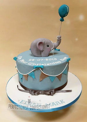 Elephant  bunting  chirstening cake  naming day cake  balloon  blue  grey  novelty  celebration  dublin  swords  malahide  raspberry %282%29
