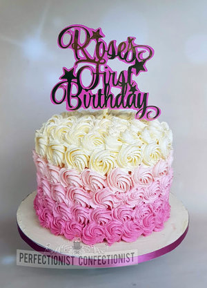 Pink ombre cake  pink buttercream swirls  first birthday  1st birthday  cake topper  rosie  dublin  swords  malahide  novelty cake  celebration cake  %284%29