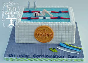 Swimming Pool Confirmation Cake