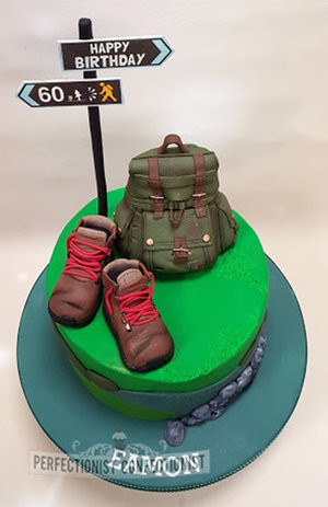Hiking  hillwalking  cake   celebration  60th  birthday  birthday cake  novelty  dublin  swords  malahide  kinsealy  clontarf castle  backpack  rucksack  edible  topper %283%29