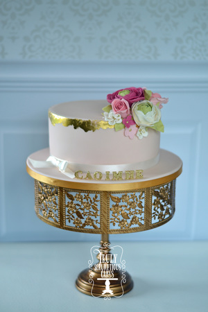 Guilded Gold Christening Cake