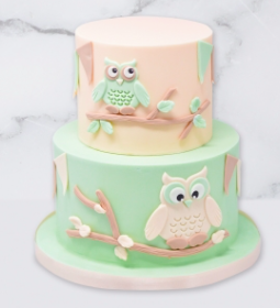 The Owl Cake is a fondant iced cake. You have the option of a single tier or 2 tier cake. Each tier is 4″ deep so a two tier cake will have an overall height of 8″.  This cake is available in a selection of pastel colours. All sugar elements are hand made and edible.