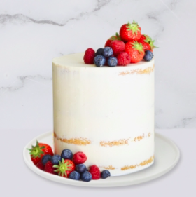 The Semi-Naked & Fresh Berries Cake is a buttercream iced cake. The cake is 6″ deep. The berries are edible but may vary due to seasonality and availability.