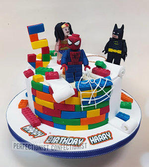 Lego  birthday  cake  wonderwoman  superheroes  figures  batman  spiderman  chocolate fudge cake  dublin  malahide  swords  novelty  celebration  handmade %286%29