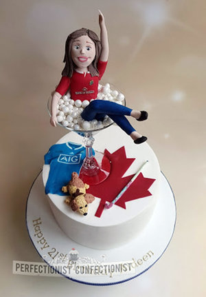Girl in glass  cake  21st  birthday cake  maple leaf  dublin gaa jersey  martini glass  celebration  novelty  dublin  malahide  kinsealy  swords  %283%29