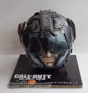 Call of duty  cake  corporate  black ops 4  black ops iiii  helmet  demonware  dublin  launch cake  12 10 18 call of duty black ops %2810%29