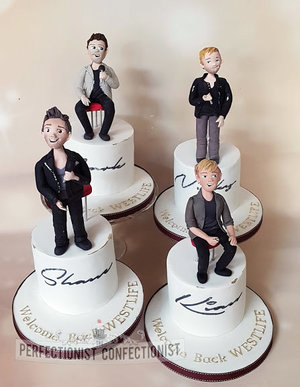 Westlife  dublin 2019  the twenty tour  the 20 tour  kian egan  shane filan  mark feehily  nicky byrne  cake  celebration  corporate  chocolate biscuit  models  %2813%29