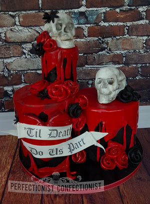 Halloween cake  halloween wedding cake  skulls wedding cake  wedding cake  red  black  til death to us part  saggart  dublin  kinsealy  swords  malahide   %281 %284%29