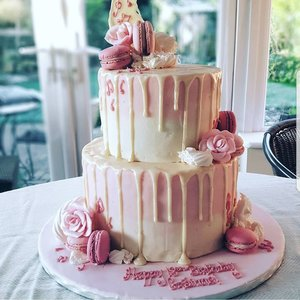 Two Tiered Pink and Cream Ombre Drip Cake
