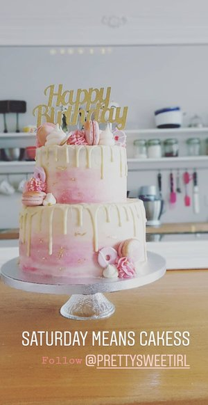 Pink Water Colour Effect Drip Cake