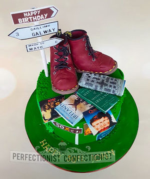 50th birthday cake  hiking  doc martins  dr martins  hillwalking  crosswords  reading  queen  bowie  acdc  celebration  chocolate biscuit cake  novelty   %282%29