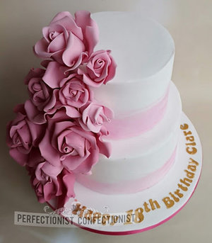 18th  birthday  cake  dublin  swords  malahide  kinsealy  roses  flowers  elegant  handmade  celebration  21st %281%29